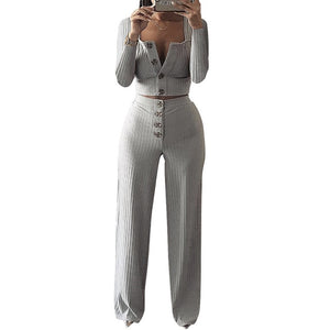 Autumn Women Knitted Rib Sexy 2 Piece Set Women 2019 Winter Casual Gray  Matching Sets Outfit 2 Piece Set Elegant Straight Pants