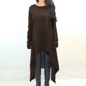 ZANZEA Winter Dress Sweater Women Long Knitted Sweater Long Sleeve Solid Asymmetric Casual Loose Plus Size