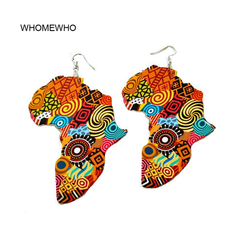 Tribal Wood Africa Map DIY Colorful Painting Afro Vintage Earrings Wooden Boho African Bohemia Ear Jewelry