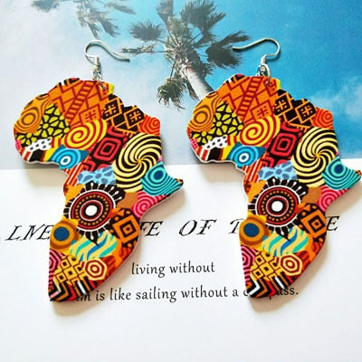 Tribal Wood Africa Map DIY Colorful Painting Afro Vintage Earrings Round Wooden Boho African Bohemia Ear Jewelry