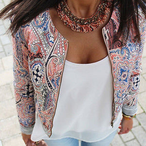 Fashion Women Floral Zipper Summer Casual Suit Short Jacket Coat Outwear