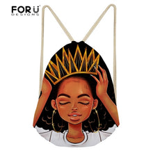 FORUDESIGNS Women Sport Bag Black Art Afro Lady Pattern Sports Backpack for Female Small Drawstring Bags Training Yoga Bag