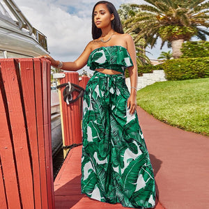 Boho Women Two Piece Set Leaves Print Off Shoulder Ruffles Cropped Top Wide Leg Pants High Waist Slim New Sexy Suits Streetwear