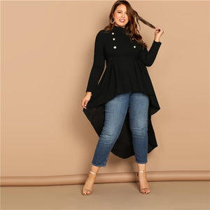SHEIN Mock-neck Dip Hem Stand Collar Double Button Plain Top Plus Size 3X Black Blouse Women 2019 Spring Casual Top Blouses