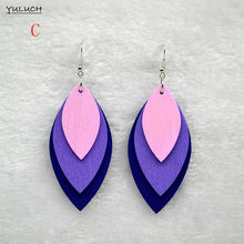 Retro geometric leaves long leaves new arrival handmade wooden fashion woman personality earrings