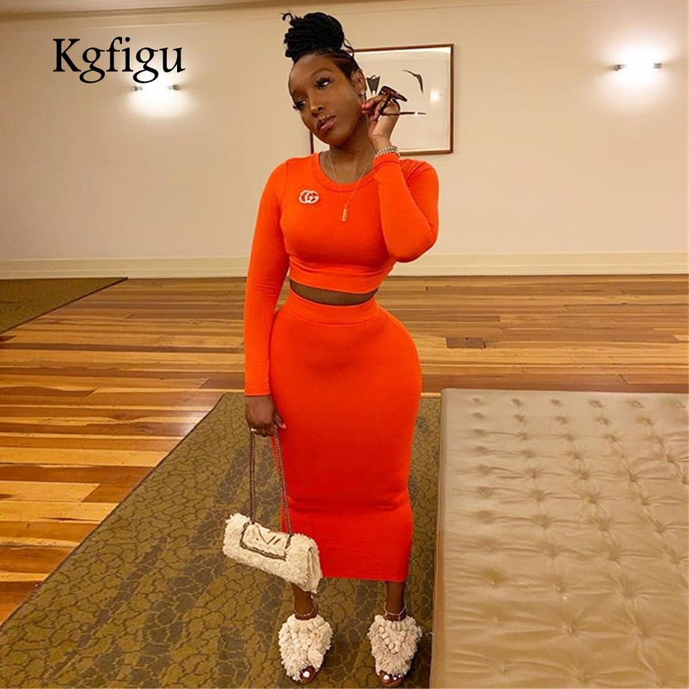 2019 New Arrrivals long sleeve tops and pencil skirt set women two piece outfits Neon orange matching sets
