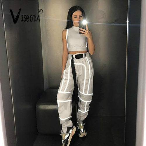 Women 2 Piece Tracksuit Reflective Cropped Top Loose Pants Sets Fashion Female Shine Black Tank Top And Trouser Chandal Mujer