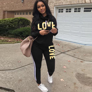 Plus Size 2 Piece Set  Women Black Outfit LOVE Letter Print High Neck Hoodies Sweatshirt Pants Tracksuit Streetwear Casual Suit