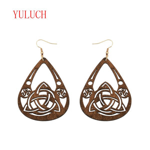 New Arrival Natural Wooden Water Drops Openwork Water System Cycling Pendant Ethnic