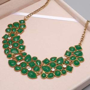 MINHIN New Popular 20 Colors Multicolor Big Pendant Clavicle Chain Necklace Women's Delicate Banquet Jewelry