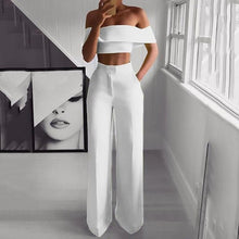 2PCS Off Shoulder Crop Top Straight Pants Set for Women 2019 Sexy Outfit Yellow/White/Pink/Black