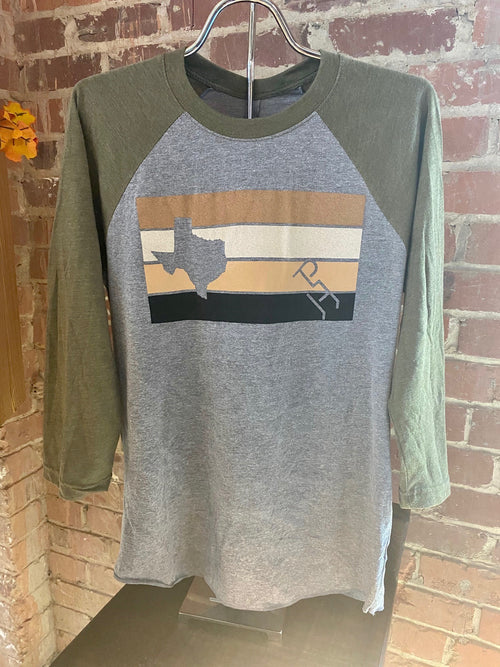Green 3/4 Sleeve Baseball Tee