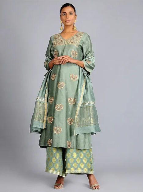 Green Tilla Embroidered Chanderi Silk Kurta