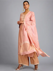 Peach Gota Embroidered Chanderi suit (set of 3)