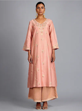 Peach Tilla Embroidered Chanderi Silk Kurta