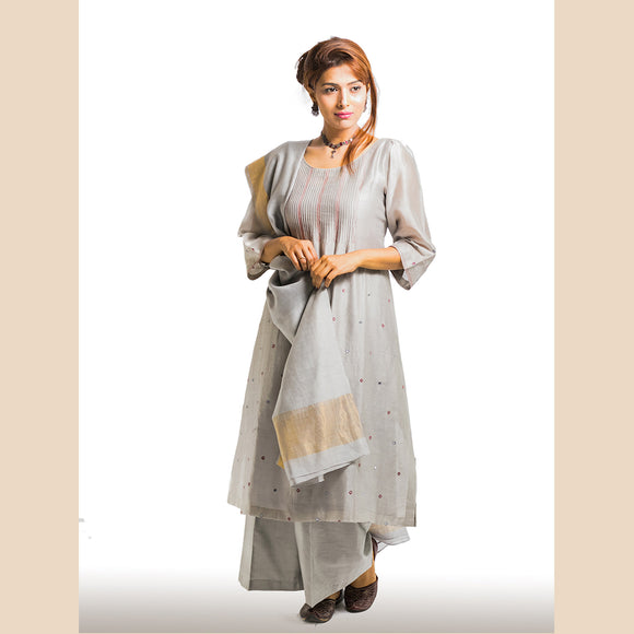 Grey Pintuck Chanderi Kurta
