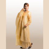 Beige Cotton Silk Loose Plazzo