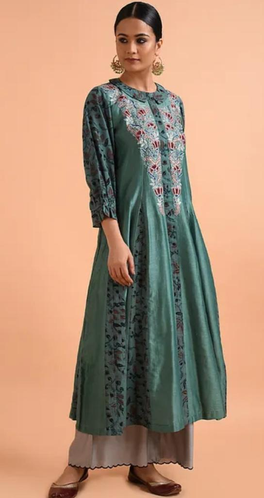 Peacock kalamkari embroidered kurta
