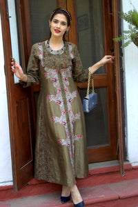 Mehndi green Kalmakari kurta/dress with embroidery