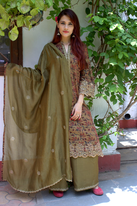 Mehndi green kalamkari suit set MAAHRU collection
