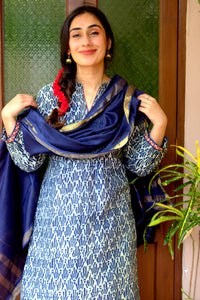 Matsya Mud Handblockprinted Chanderi Kurta