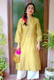 Mriga Mud Handblocked printed Chanderi Kurta