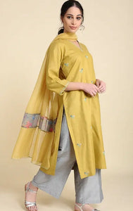 Ochre Matka Cotton Kurta with embroidery