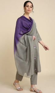 Grey and Lavender Chanderi silk Dupatta with scallop embroidery