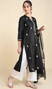 Black Matka Cotton Kurta and Palazzos (set of 2)