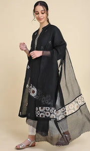 Black Chanderi silk dupatta with scallop embroidery