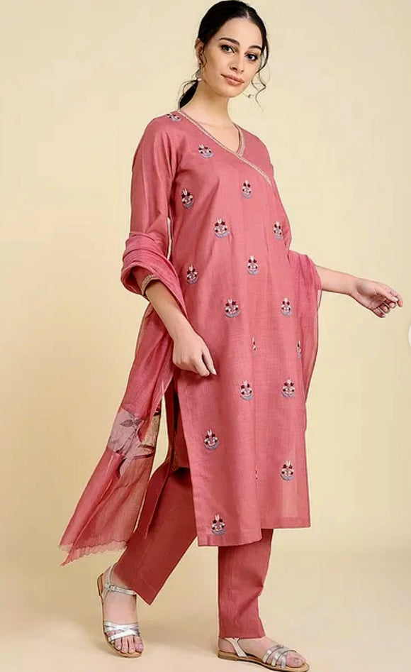 Rose Pink Matka Cotton Kurta with pants (set of 2)