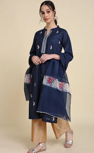 Blue Matka cotton kurta with embroidery