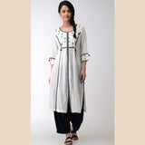 Blue-Off white ikkat cotton Kurta