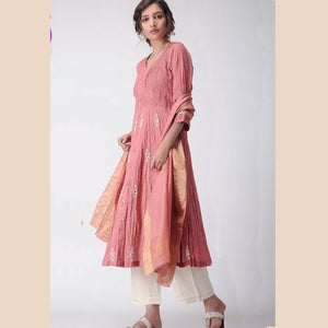 Dusty Rose embroidered muslin kurti