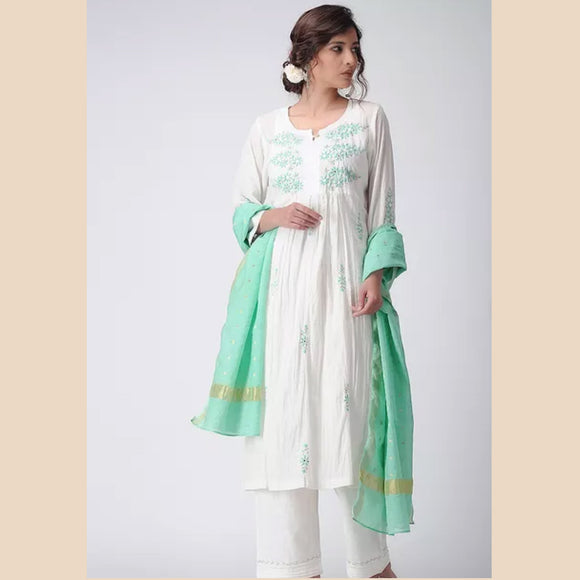 Off white embroidered muslin Kurta