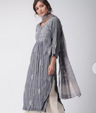 Grey embroidered muslin kurti
