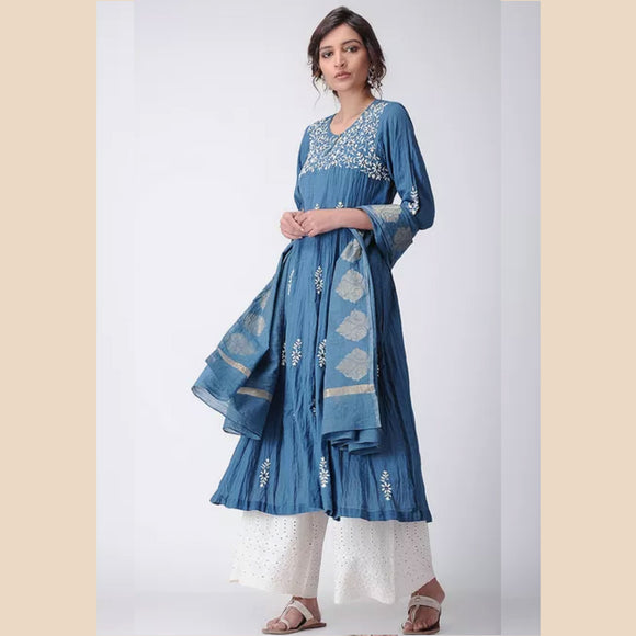 Indigo embroidered muslin kurti