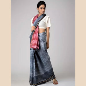 Red-Grey Shibori-dyed Chanderi Saree with Zari Border and Tassels