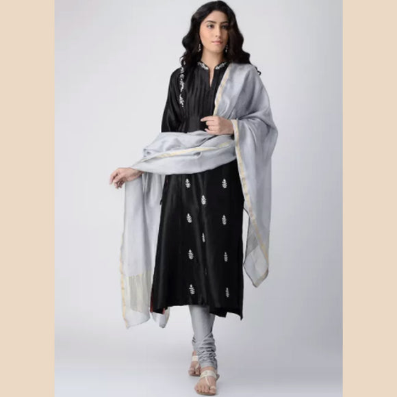 Black Pintuck Hand-embroidered Chanderi Silk Kurta