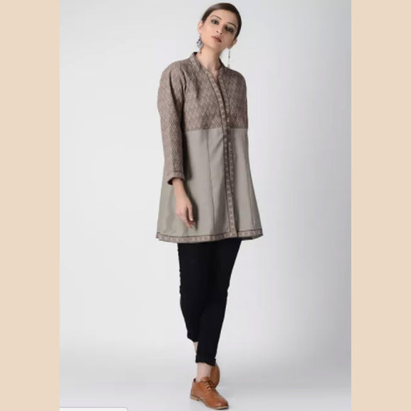Grey Ajrakh-printed Cotton Pashmina Quilted Jacket