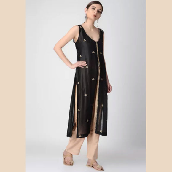 Black Chanderi Jacket with Tilla Embroidery