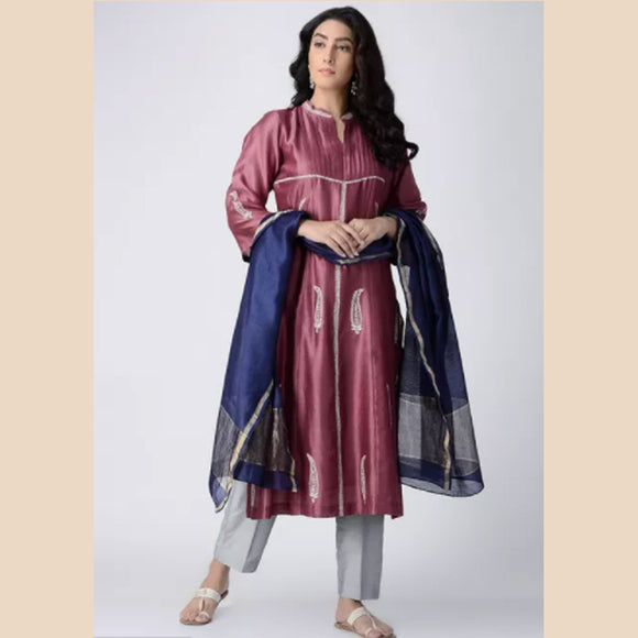 Plum Pintuck Hand-embroidered Chanderi Silk Kurta