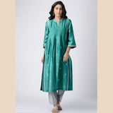 Sea-Green Pintuck Hand-embroidered Chanderi Silk Kurta