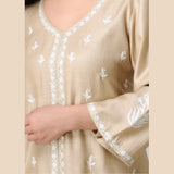 Beige herring bone silk Kurta with Aari Embroidery