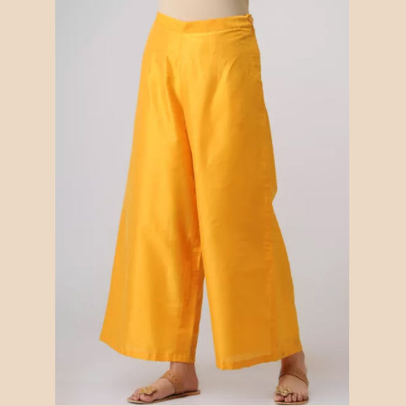 Yellow Elasticated Waist Cotton Silk Palazzos