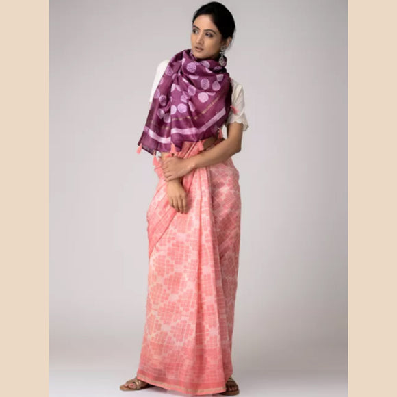 Pink-Magenta Shibori-dyed Chanderi Saree with Zari Border and Tassels