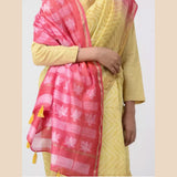 Yellow-Red Shibori-dyed Chanderi Saree with Zari Border and Tassels