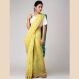 Yellow-Green Shibori-dyed Chanderi Saree with Zari Border