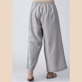 Grey Elasticated Waist Cotton Silk Palazzos