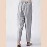 Grey Elasticated Waist Cotton Silk Pants